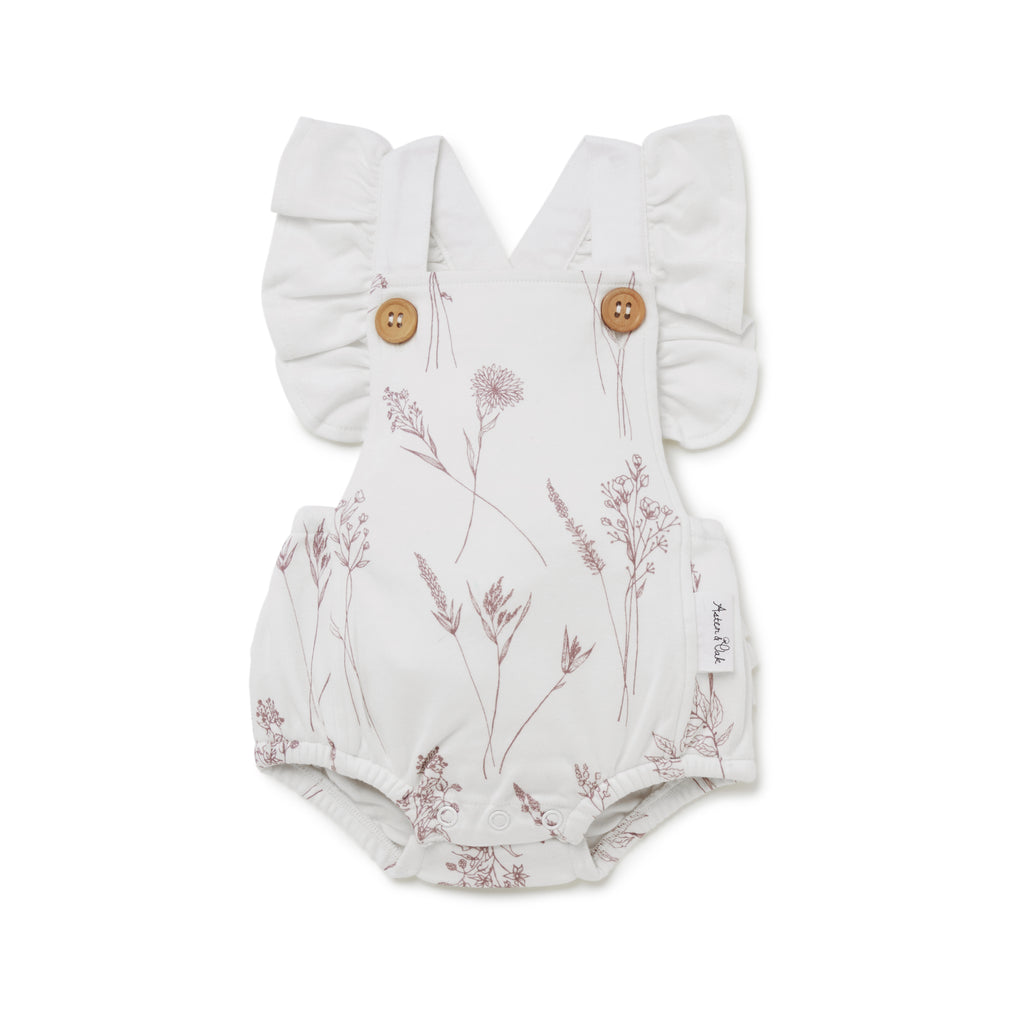Aster & Oak Organic Cotton Girls Wildflower Flutter Playsuit Flatlay
