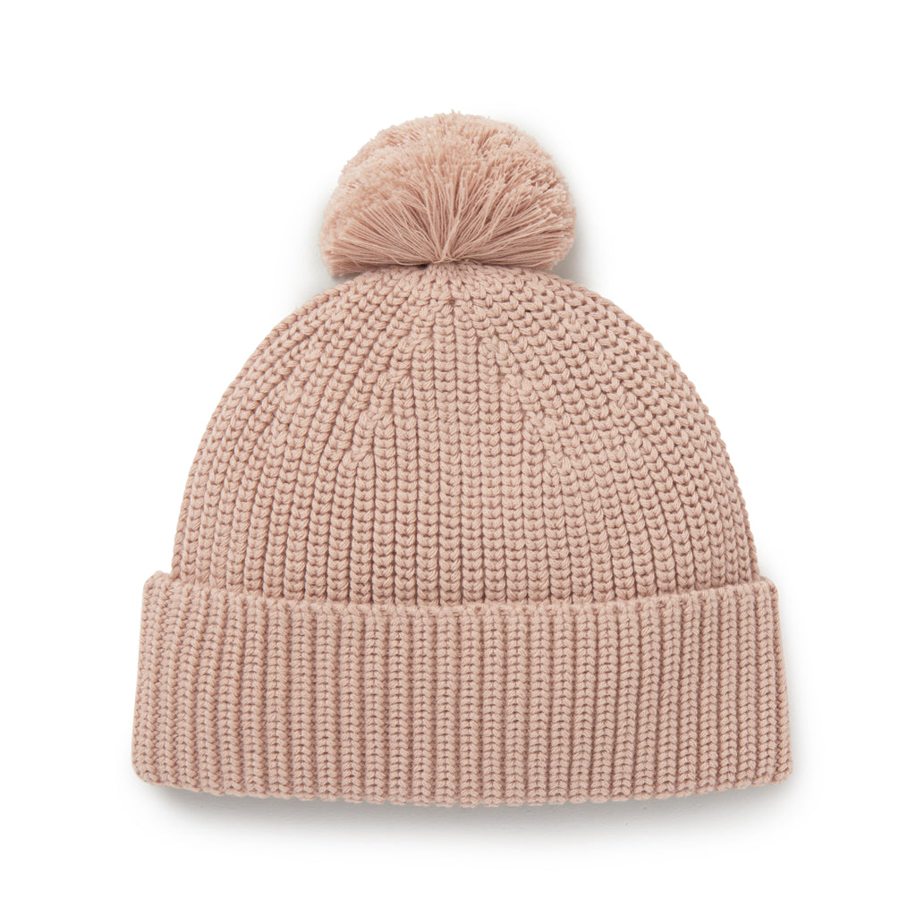 Aster & Oak Organic Cotton Girls Rose Knit Pom Pom Beanie