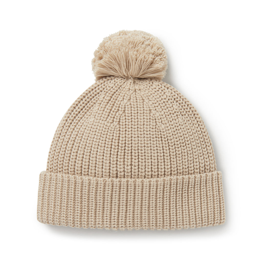 Aster & Oak Organic Cotton Sand Knit Pom Pom Beanie