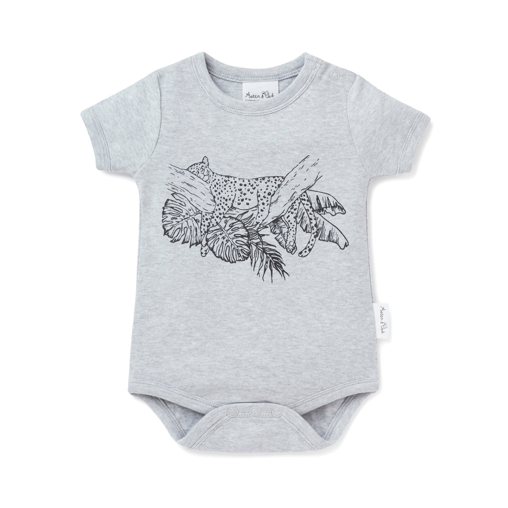 Aster & Oak Grey Marle Boys Leopard Print Onesie Bodysuit Hand drawn