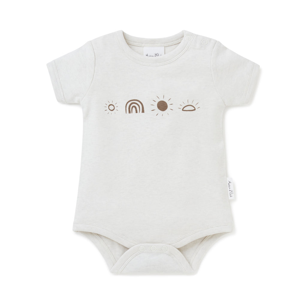 Aster & Oak Organic Cotton Basics Sunny Days Rainbow Unisex Print Onesie Baby Bodysuit