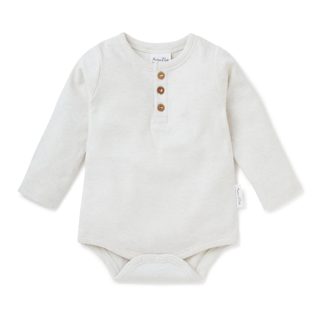 Aster & Oak Organic Cotton Natural Ecru Marle Henley Onesie