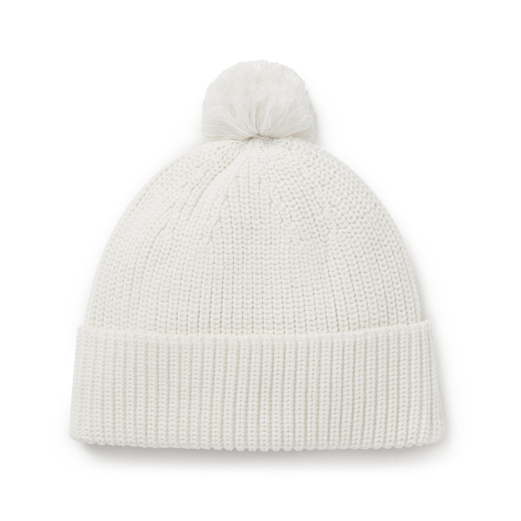 Aster & Oak Baby Newborn Cream Knit Pom Pom Beanie