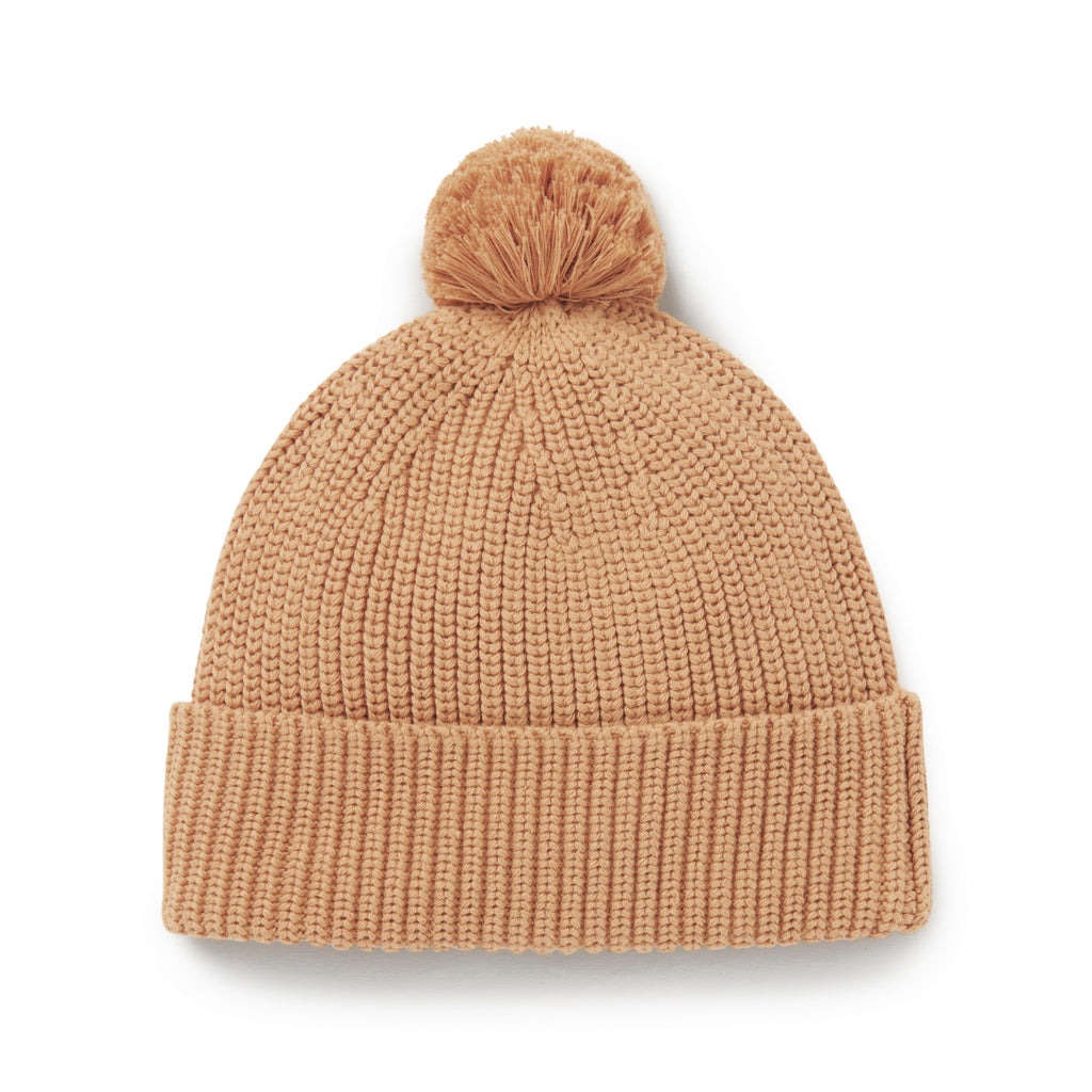 Aster & Oak Organic Cotton Taffy Knit Pom Pom Beanie