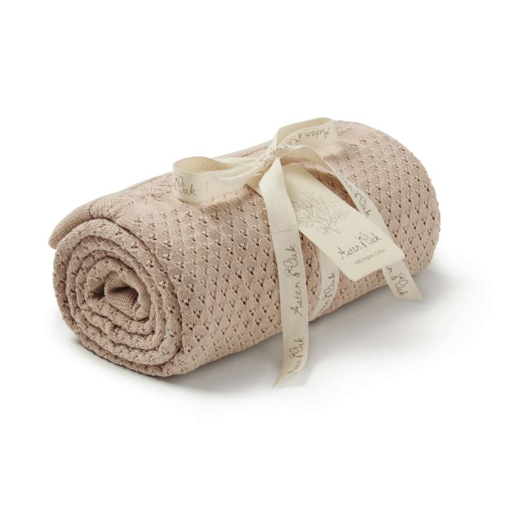Aster & Oak Neutral Baby Sand Knit Heirloom Blanket