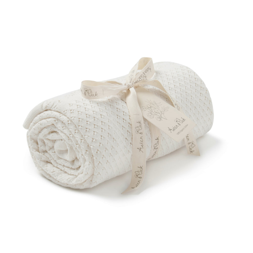 Aster & Oak Organic Cotton Cream Knit Heirloom Blanket