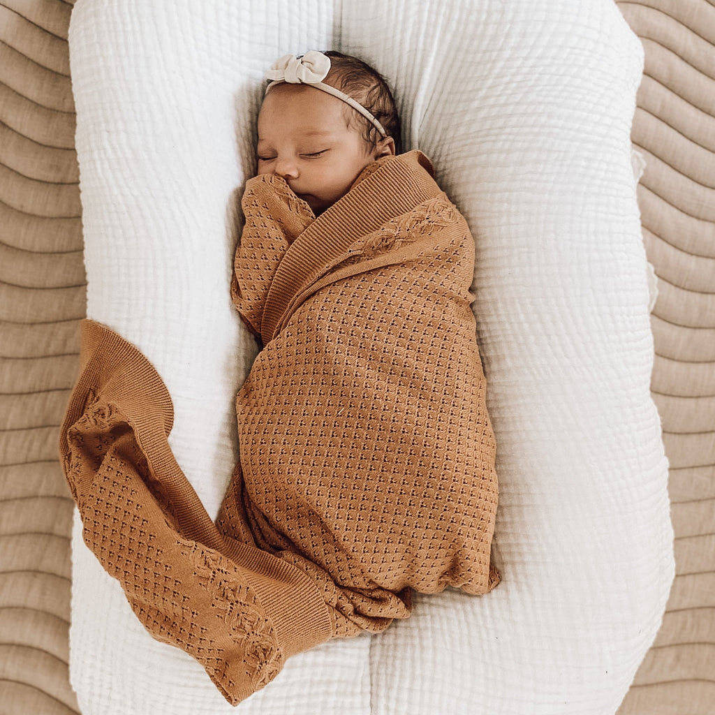 Aster & Oak Organic Cotton Taffy Knit Heirloom Blanket Swaddle Wrap