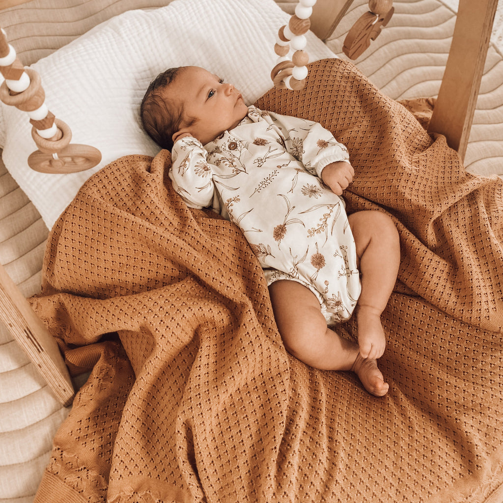Aster & Oak Baby Newborn Organic Cotton Taffy Knit Heirloom Blanket
