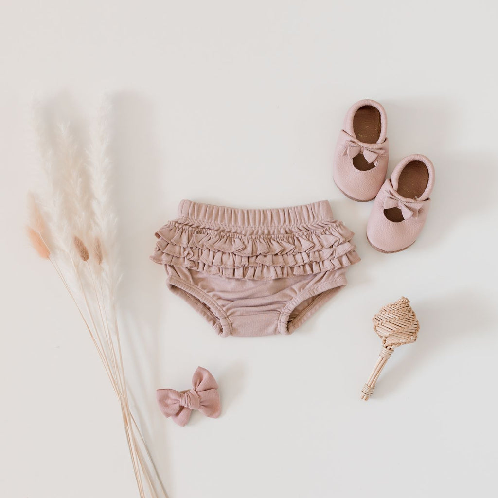 Aster & Oak Organic Baby Girls Pink Fawn Ruffle Bloomers Flatlay Rose