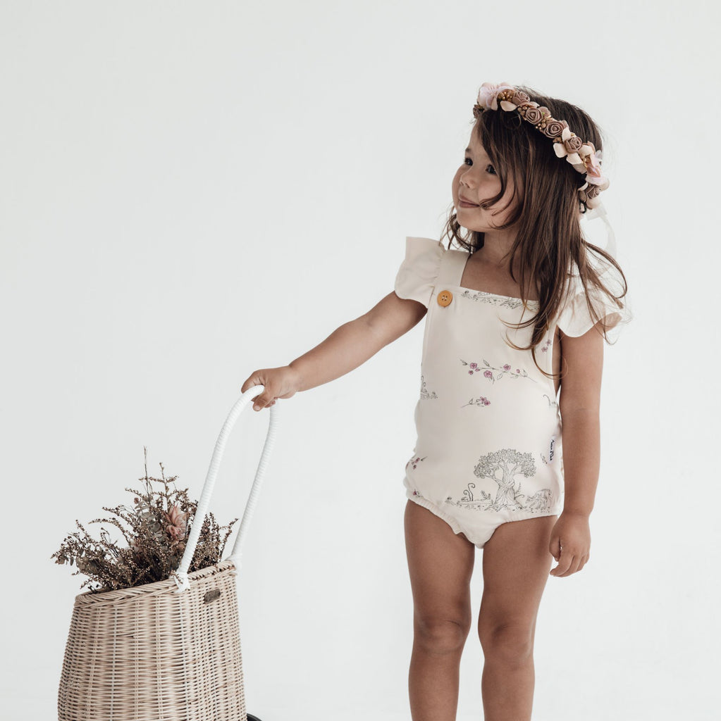 Aster & Oak Organic Girls Tree Of Life Ruffle Playsuit Ethically Made