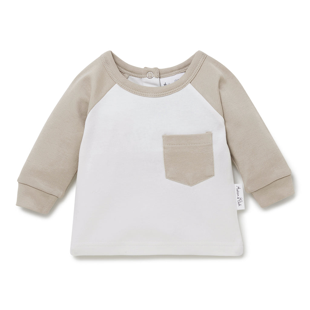 Aster & Oak Organic Cotton Boys Gender Neutral Raglan Pocket Tee