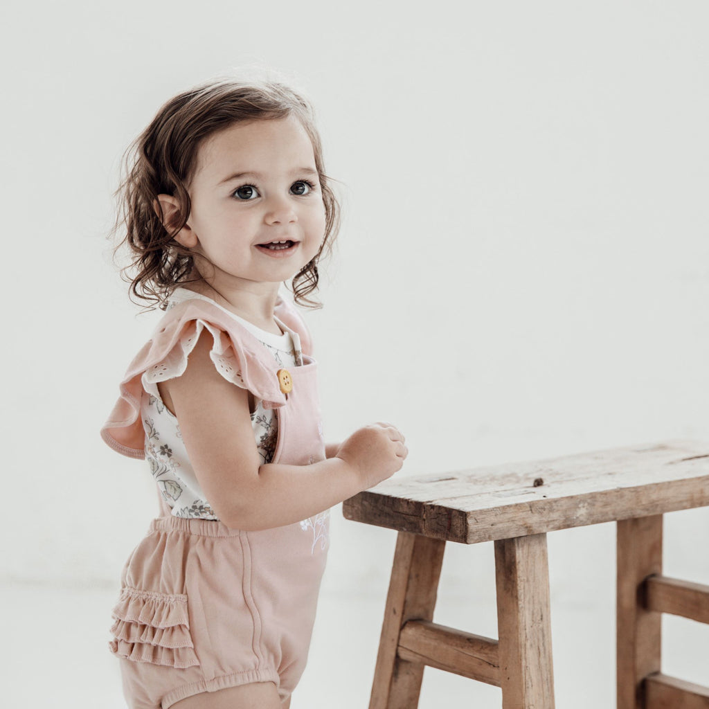 Aster & Oak Organic Cotton Girls Floral Embroidered Playsuit Ruffle Butt