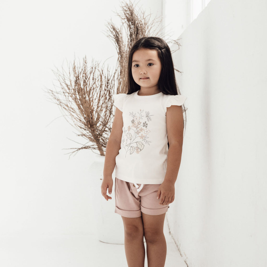 Aster & Oak Organic Cotton Girls Pink Fawn Button Shorts Outfit