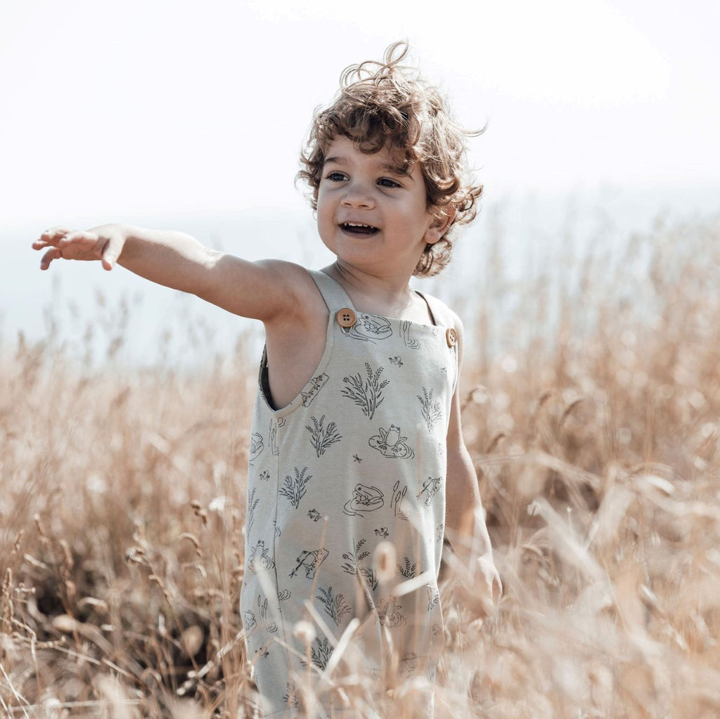 Aster & Oak Sage Organic Cotton Frog Pond Pocket Overalls Outdoors Photoshoot