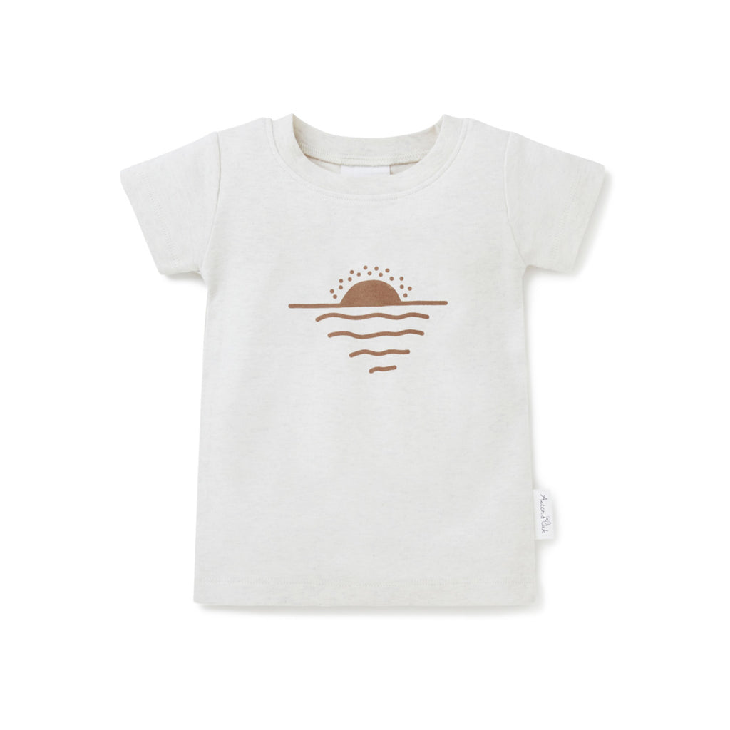 Aster & Oak Organic Cotton Neutral Sun & Sea Print Tee
