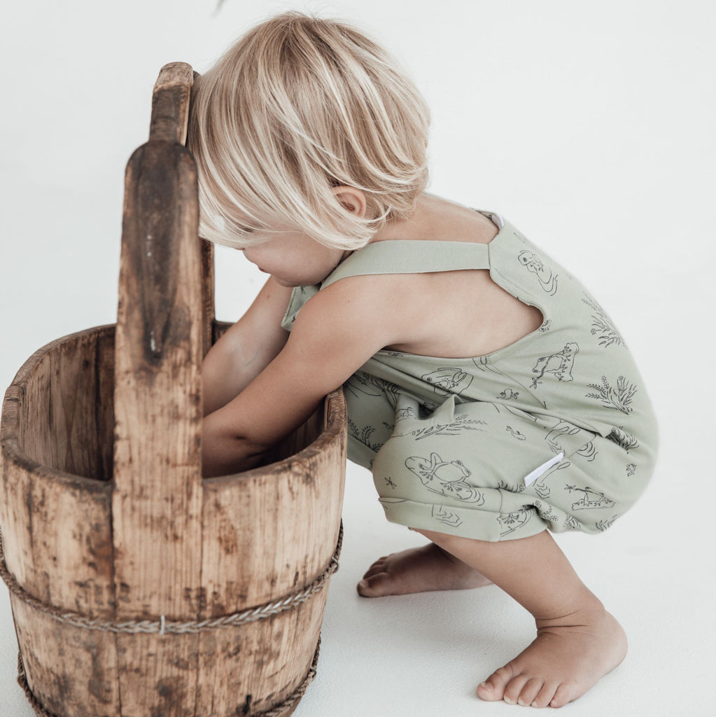 Aster & Oak Sage Organic Cotton Frog Pond Pocket Overalls Boys outfit