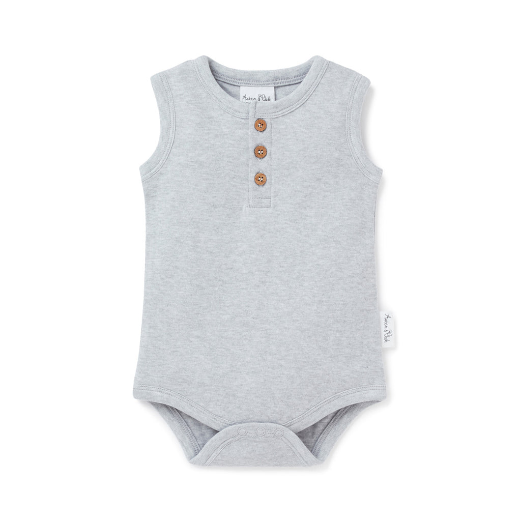 Aster & Oak Organic Cotton Grey Marle Singlet Onesie