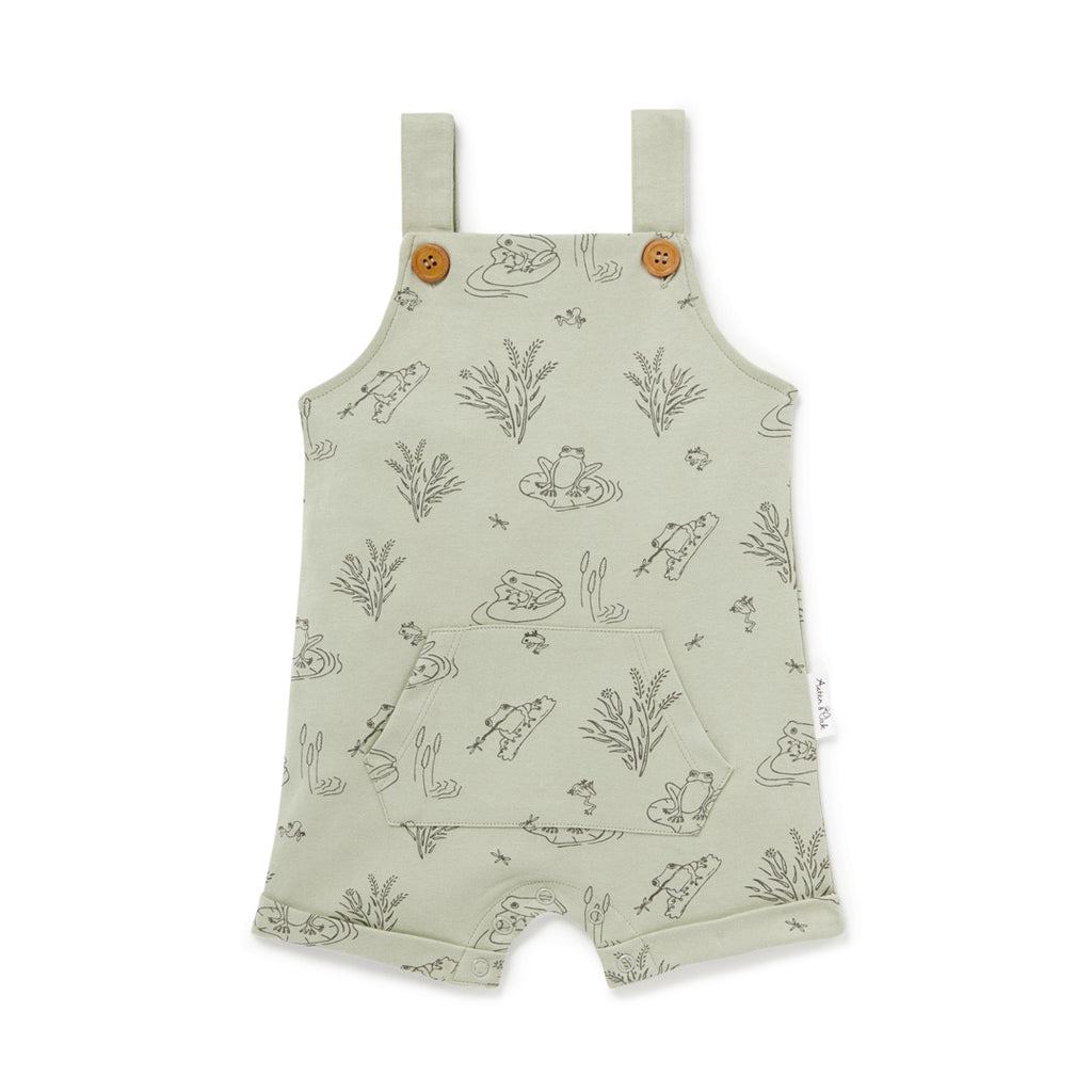 Aster & Oak Sage Organic Cotton Frog Pond Pocket Overalls