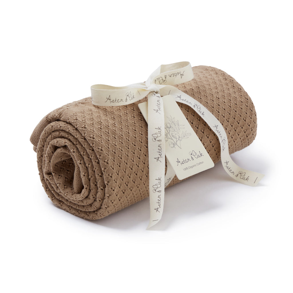 Aster & Oak Organic Clay Heirloom Baby Blanket Newborn