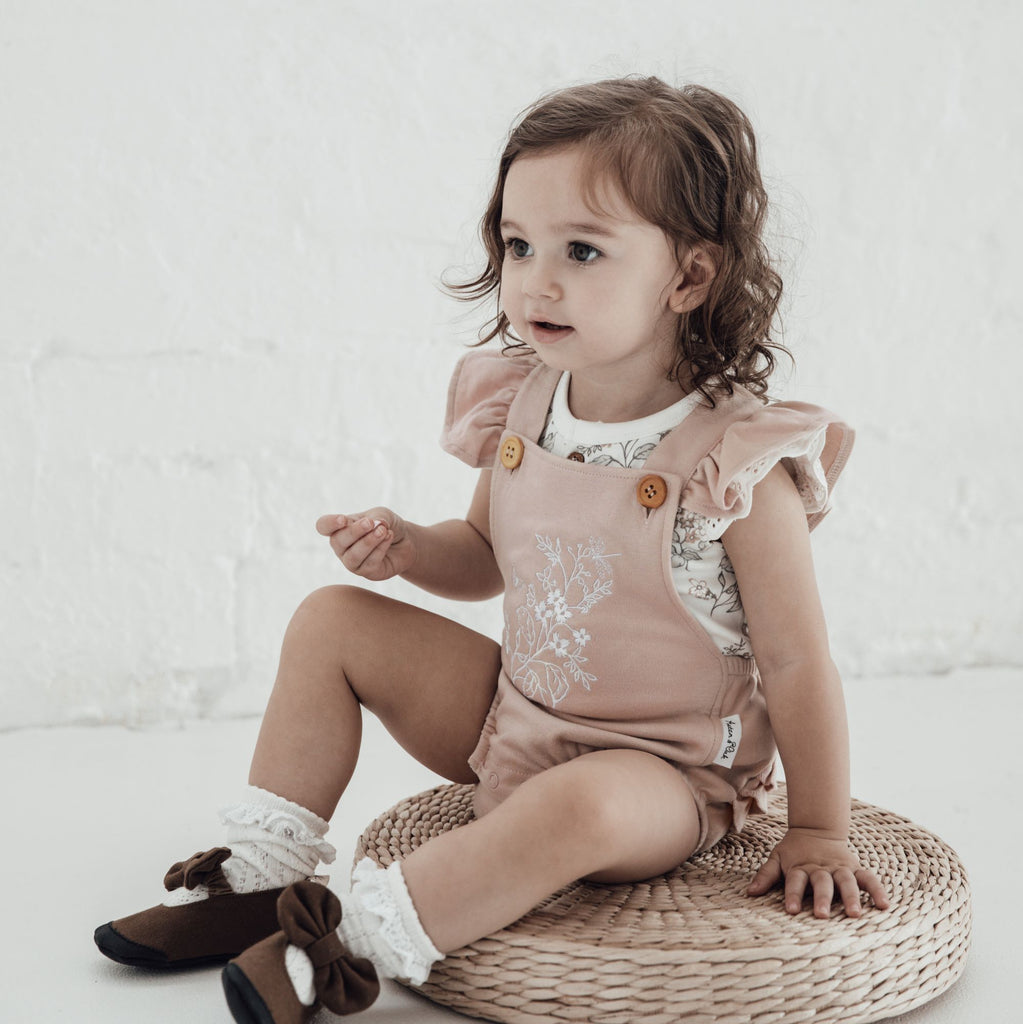 Aster & Oak Organic Cotton Girls Floral Embroidered Playsuit Romper Photshoot