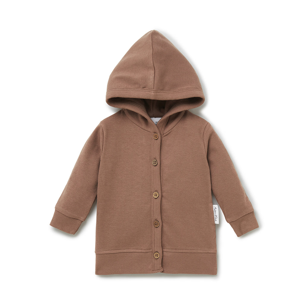 Aster & Oak Organic Cotton Boys Cocoa Rib Hooded Cardigan Jacket