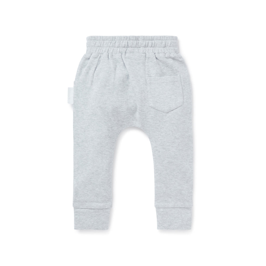 Aster & Oak Organic Cotton Baby Grey Marle Harem Pants Back View