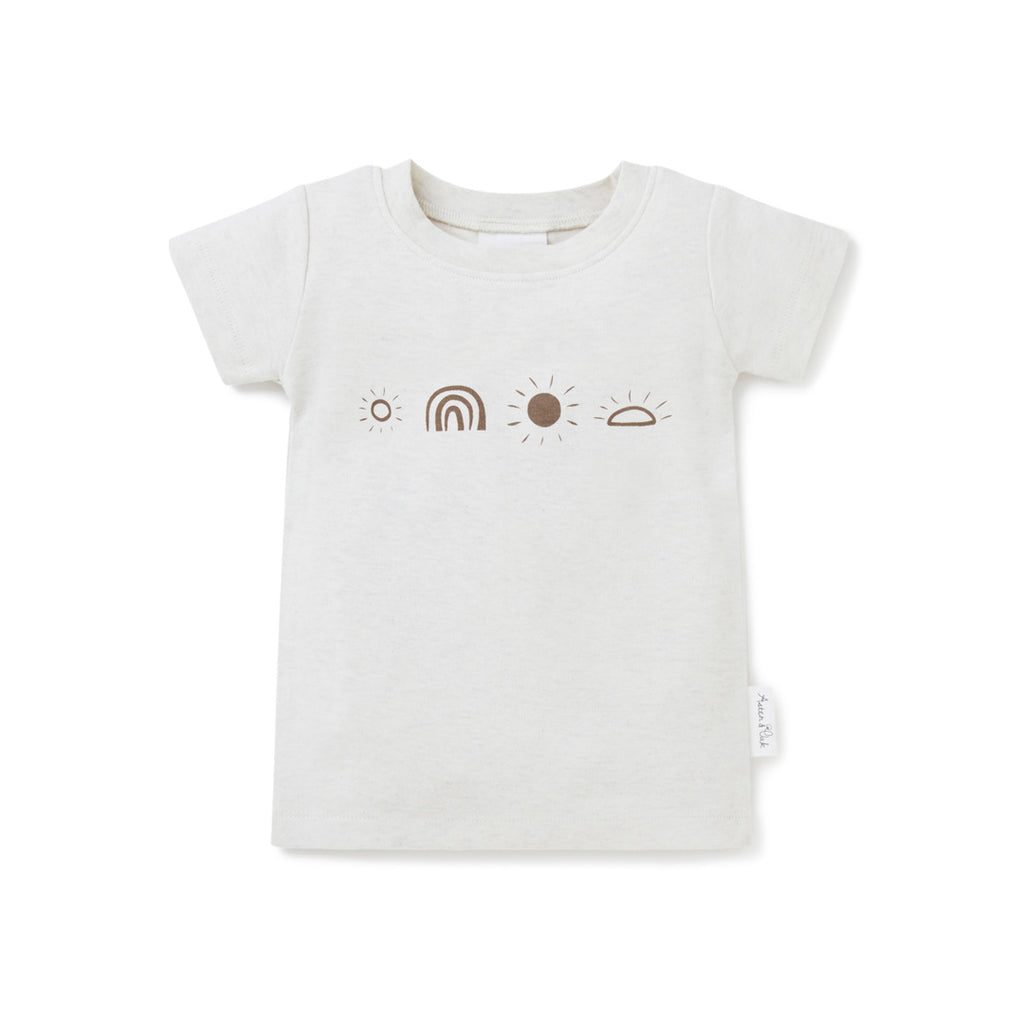 Aster & Oak Organic Cotton Oatmeal Sunny Days Print Tee