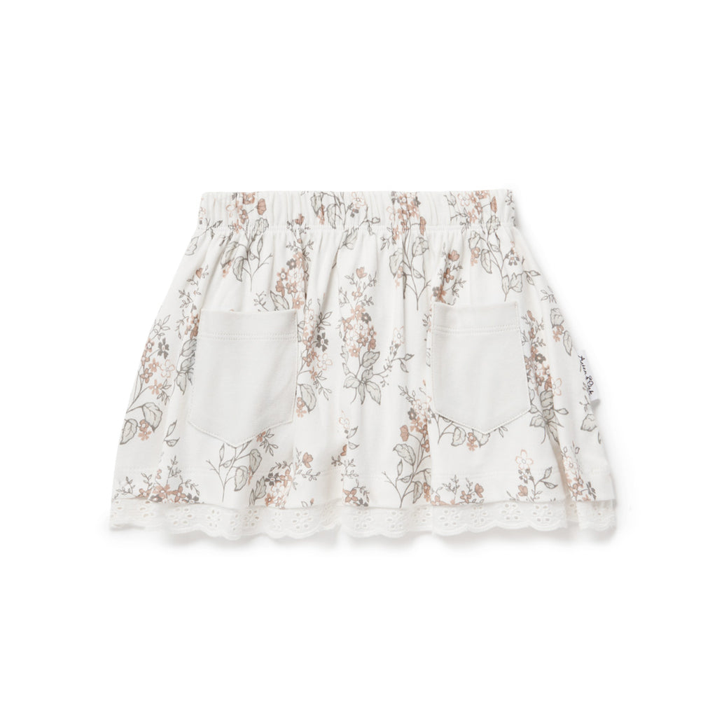 Aster & Oak Organic Cotton Girls Summer Floral Lace Skirt Anglaise