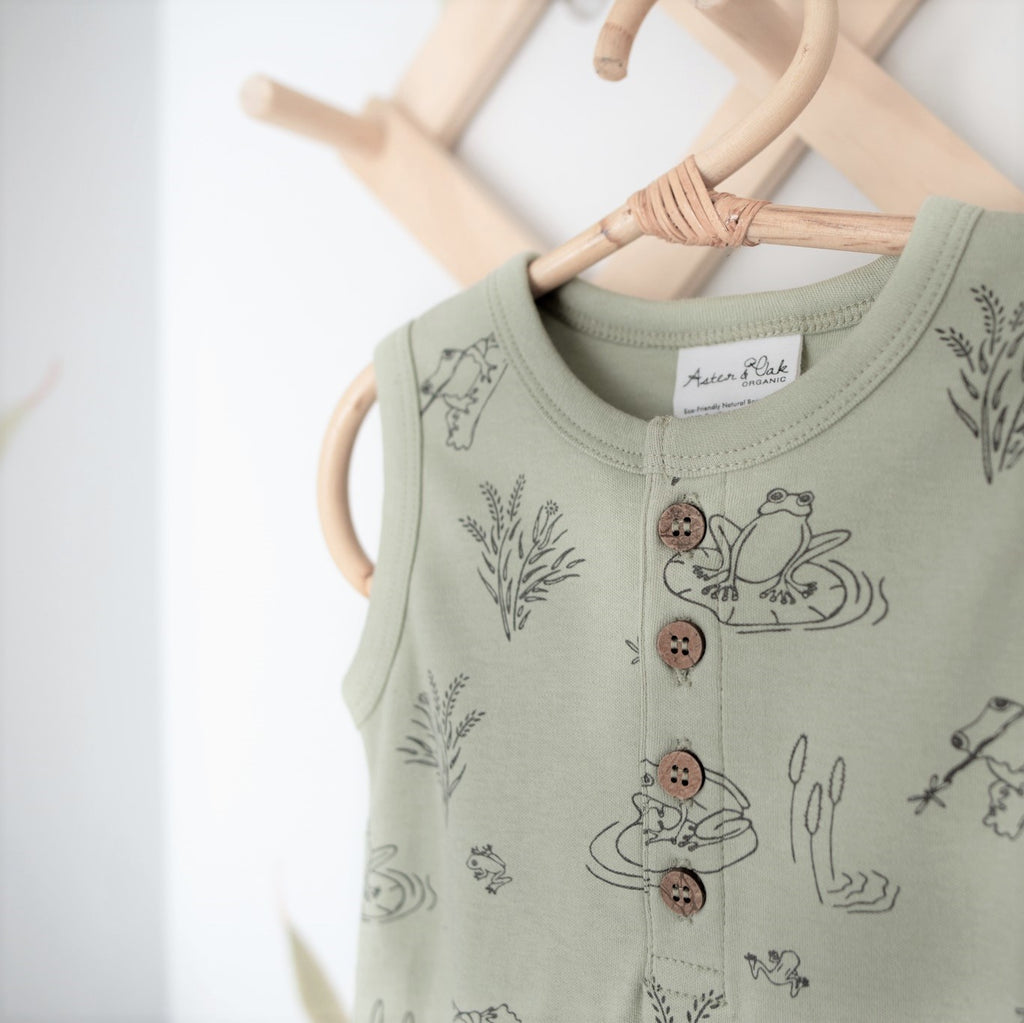 Aster & Oak Organic Cotton Frog Pond Henley Romper Sage Close Up