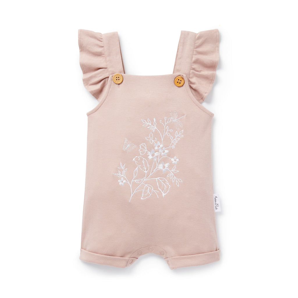 Aster & Oak Organic Girls Floral Embroidered Overalls