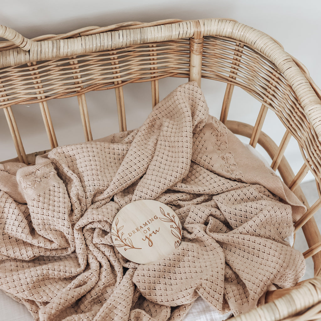 Aster & Oak Organic Cotton Oatmeal Heirloom Baby Blanket Natural Ethically Made