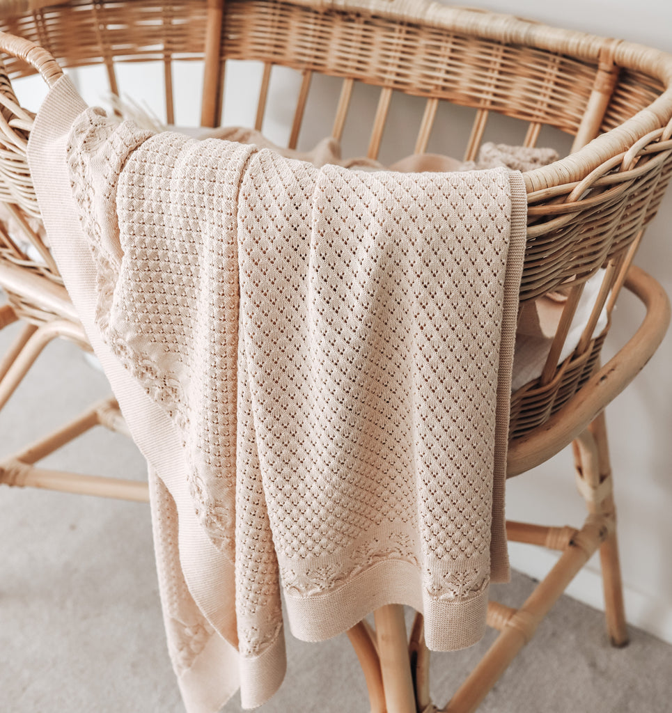 Aster & Oak Organic Cotton Oatmeal Heirloom Baby Blanket Bassinet Close Up