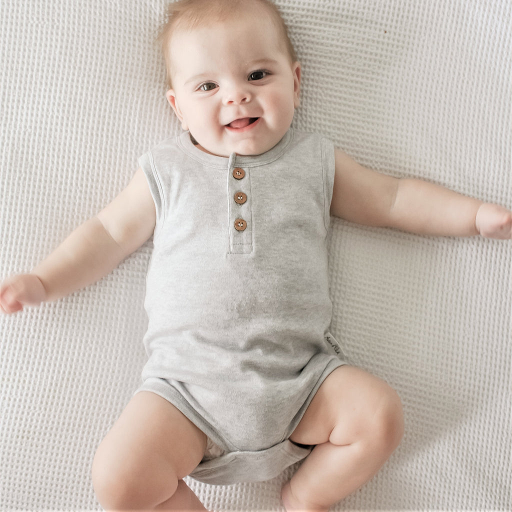 Aster & Oak Organic Cotton Grey Marle Singlet Onesie Boys bodysuit