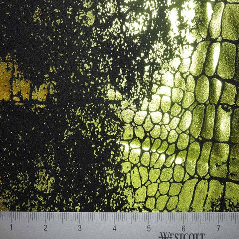 Fossil Foil Print Spandex 01 Black Yellow - NY Fashion Center Fabrics