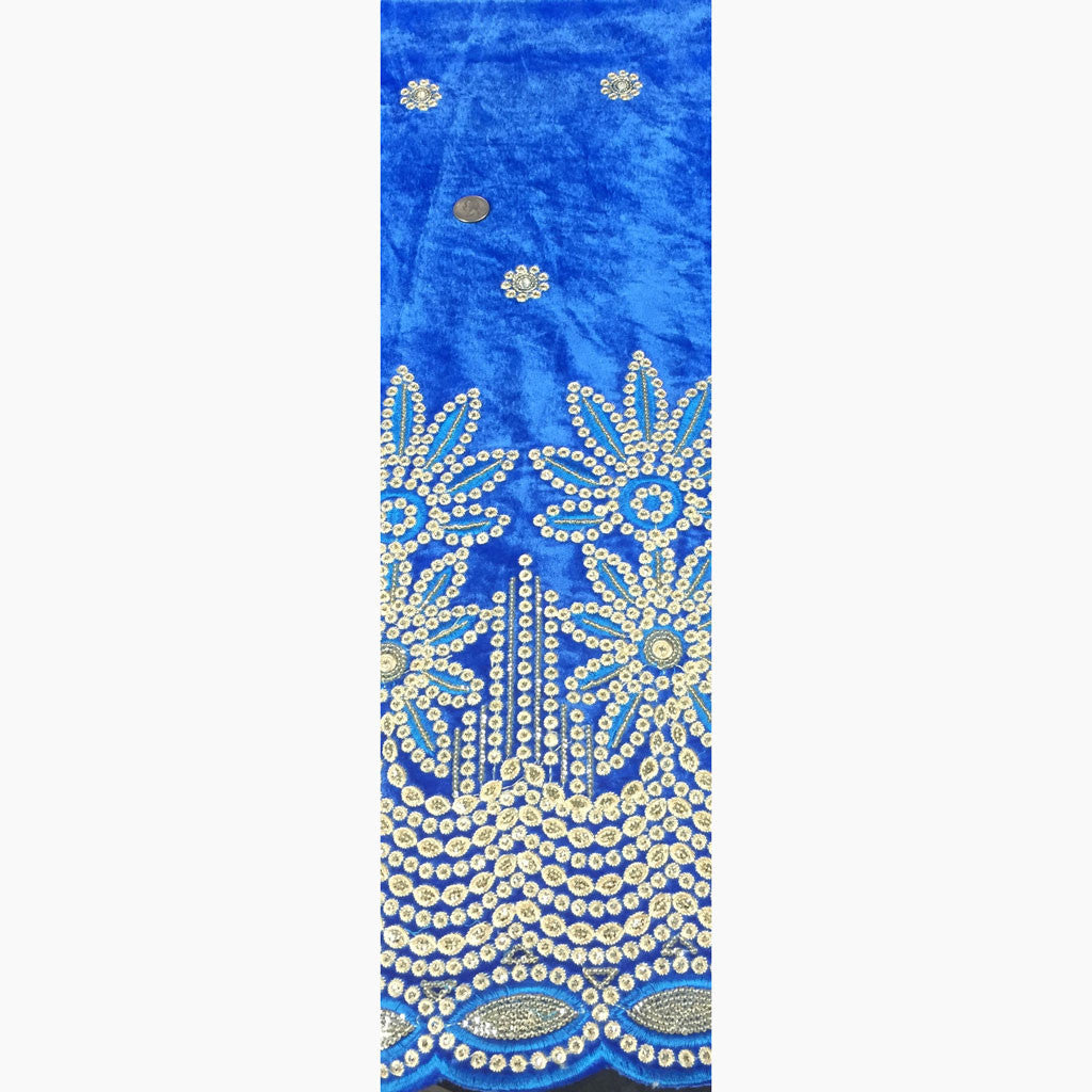 Embroidered Stretch Velvet Blue - NY Fashion Center Fabrics