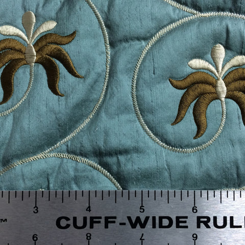 Embroidered Quilted Silk Blue Grey - NY Fashion Center Fabrics