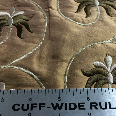 Embroidered Quilted Silk Copper - NY Fashion Center Fabrics