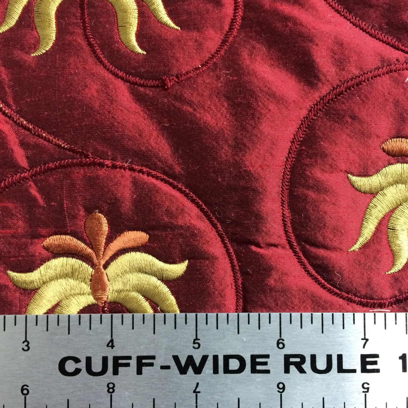 Embroidered Quilted Silk Crimson - NY Fashion Center Fabrics