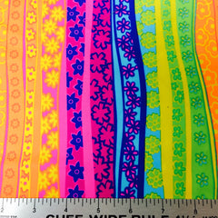 Neon Floral Stripes Spandex Fabric Neon Multi PS 4074 - NY Fashion Center Fabrics