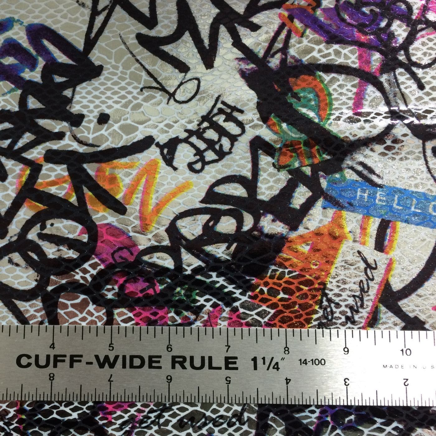 Metallic Graffiti Foil Spandex Silver Multi - NY Fashion Center Fabrics