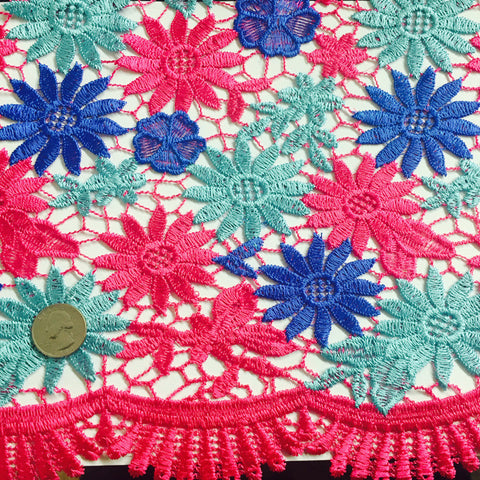 Embroidered Daisy Guipure Lace Teal Blue Pink Multi - NY Fashion Center Fabrics