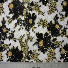 Alencon Beaded Lace #1 11 12060RB 36 BlackGold - NY Fashion Center Fabrics