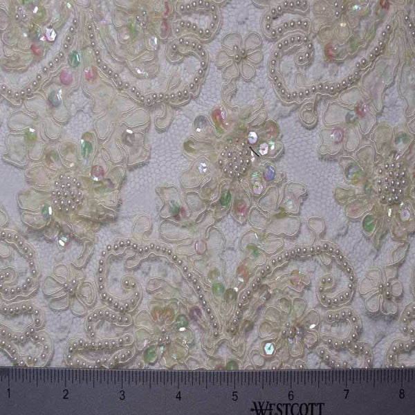 Alencon Beaded Lace 10 62 15198rb 12 Ivory Fabric By The