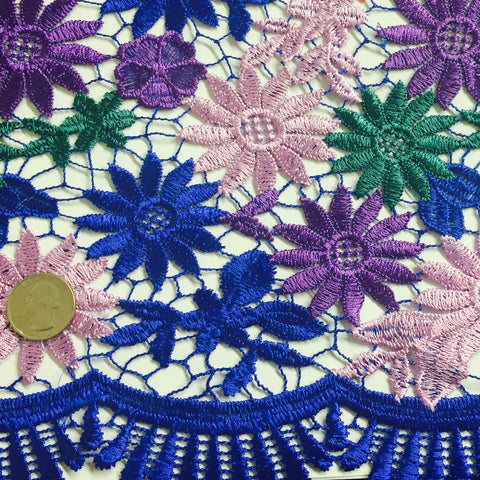 Embroidered Daisy Guipure Lace Purple Blue Green Multi - NY Fashion Center Fabrics