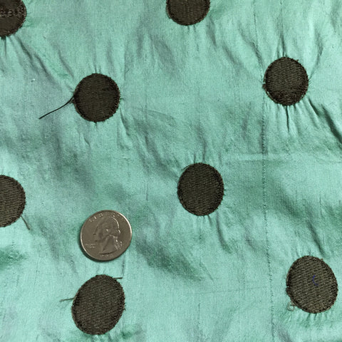 Silk Shantung Embroidered Circles Fabric Mint/Dark Brown