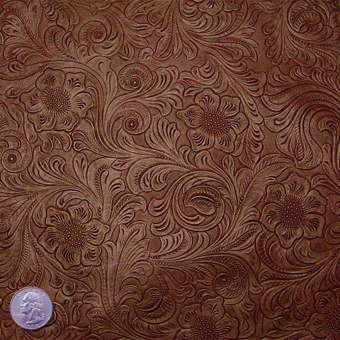 Floral Embossed Lamb Leather Brown - NY Fashion Center Fabrics