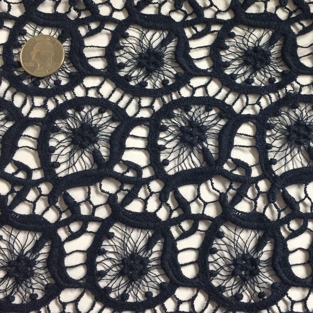 Round Geometric Cotton Lace Navy