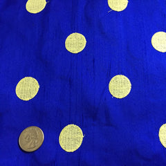 Silk Shantung Embroidered Circles Fabric Royal/Yellow