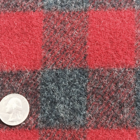 Wool Blend Buffalo Plaid Check Red/Black