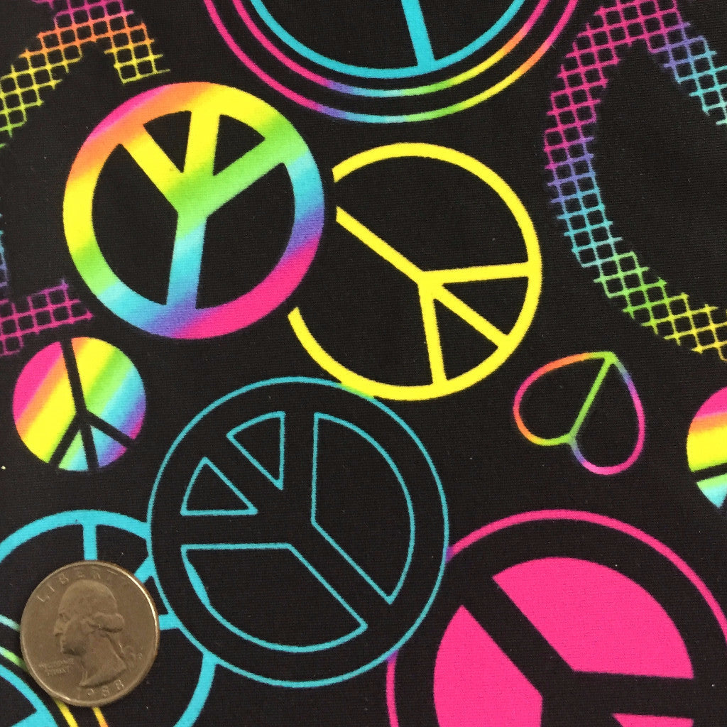 Peace and Heart Pattern Spandex Black Multi